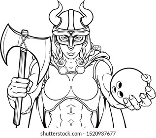 A Viking female warrior woman gladiator ten pin bowling sports mascot