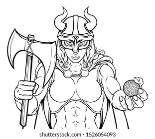 A Viking female warrior woman gladiator golf sports mascot
