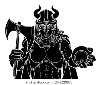 A Viking female warrior woman gladiator tennis sports mascot