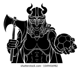 A Viking female warrior woman gladiator soccer football sports mascot