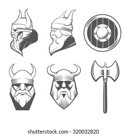 viking head, shield and axe, viking weapons, security idea, for logo, design emblem