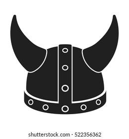 Viking helmet icon in black style isolated on white background. Hats symbol stock bitmap illustration.