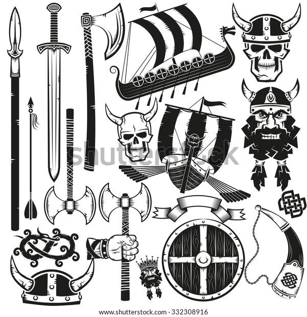 Viking Items Bundle Black On White Stock Illustration 332308916
