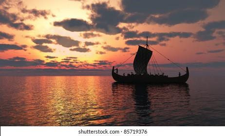Viking longship sailing on a calm sea at sunset, 3d digitally rendered illustration