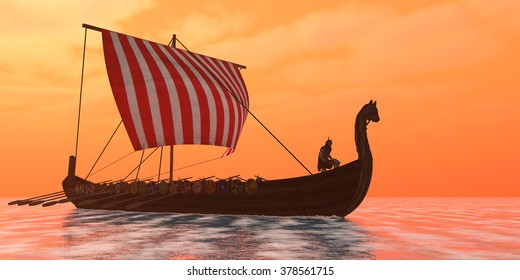 Viking Longship Ventures - A Viking longboat sails through ocean calm waters to their destinations for trade goods.