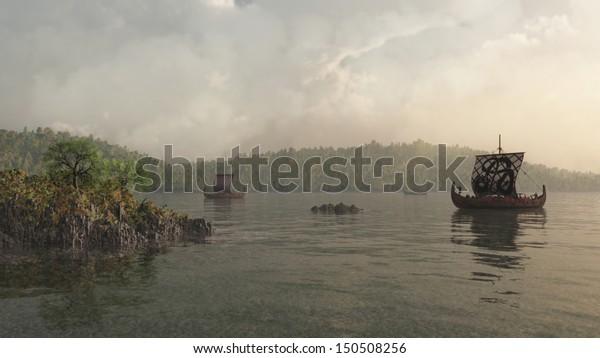 Viking longships in a misty Danish coastal inlet, 3d digitally rendered illustration