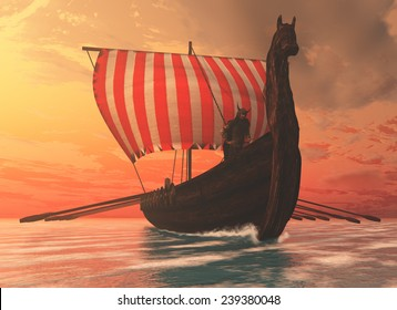 Viking Man and Longship - A Viking longboat sails to new shores for trading and companionship.