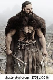 Viking Norse raider aus Skandinavien, der duelle Bärenachsen hält, steht bereit für den Kampf um seine Heimat zu verteidigen. 3D-Rendering