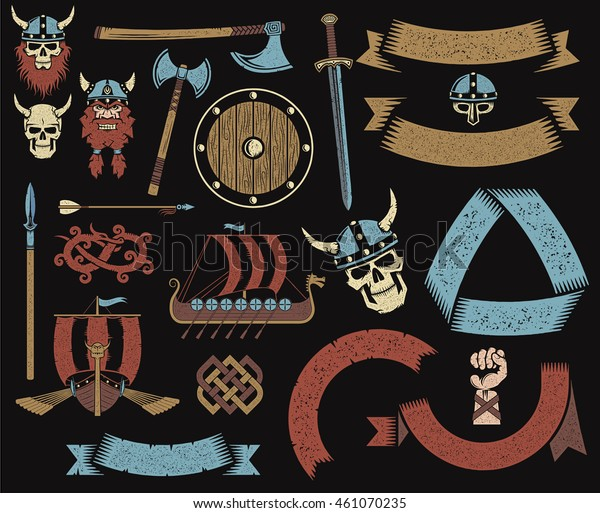 Viking Objects Items Weapons Ribbons Logos Stock Illustration 461070235
