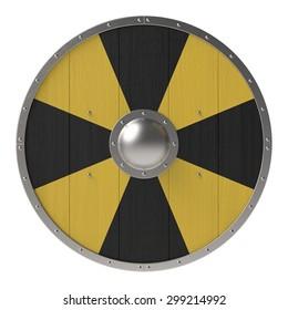 Viking shield with black-yellow cross pattern