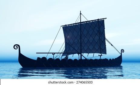 Viking ship at dawn Computer generated 3D illustration