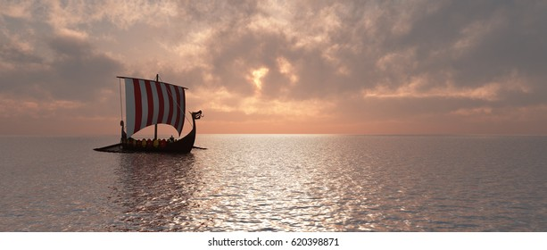 Viking ship at dusk Computer generated 3D illustration