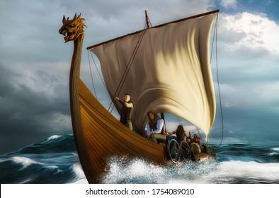 Viking ship on the open sea. Drakkar in the wavy ocean. 3D render illustration with digital painting.
