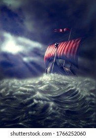 Viking ship on a stormy sea, the rays of the sun shining through the cloudy sky - painting