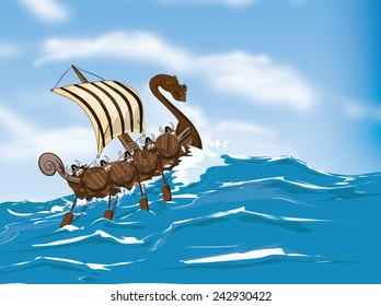 Viking Ship traveling across the ocean.