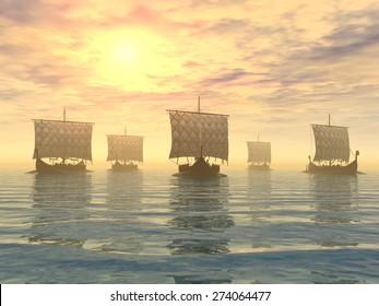 Viking Ships Computer generated 3D illustration