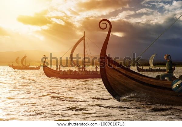 Viking fartyg på vattnet under solljus och mörk storm. Invasion i stormen. 3D-illustration.