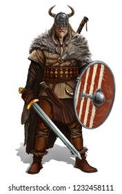 Viking with sword and shield on white realistic illustration