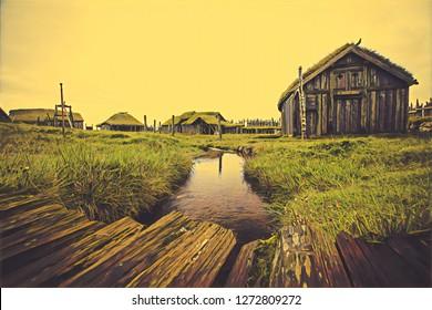 Viking Village in Hofn - Iceland - Illustration