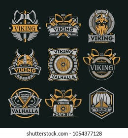 Viking vintage isolated label set. Scandinavian viking warrior badge, valhalla and north sea emblem. Medieval barbarian element collection with shield, ax, horned helmet, boat illustration.