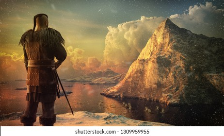 Viking warrior on the high cliff watches the ships on the sea. 3D render illustration with snow, mountain and sea.
