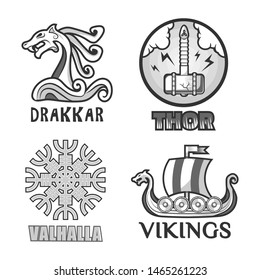Viking warriors logo set.  isolated symbols of Thor hammer and Odin Valhalla runes, Drakkar dragon head on war ship vessel with swords of ancient mythology Swedish or Norse Scandinavian soldiers