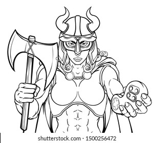 A Viking woman or gladiator female warrior gamer mascot with video games controller