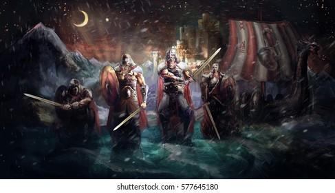Vikings landing in front of castle