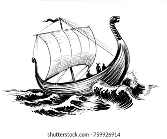 Viking's ship. Black and white ink drawing.