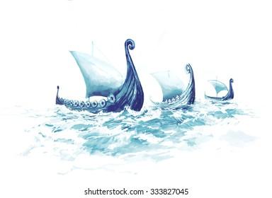 Viking's Ships Drakkars in Nordic Sea. Wooden Warships of Scandinavian Ancient Warriors.