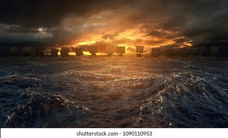 Vikingové lodě na obzoru bouřlivého oceánu. Tajemná atmosféra pod zářící oblohou. 3D ilustrace.