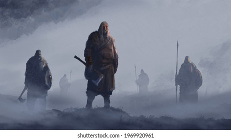 Vikings stand in the fog with axes, spears and shields, ready for battle. 2D illustration