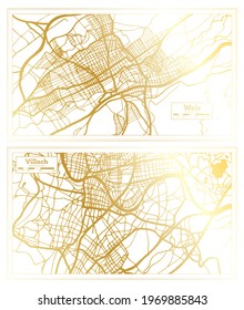 Villach and Wels Austria City Map Set in Retro Style in Golden Color. Outline Map.