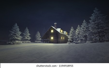 village with church on the top at calm night, winter season outdoor scenery 3D illustration