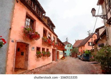 village Eguisheim in Strasbourg region , watercolor style