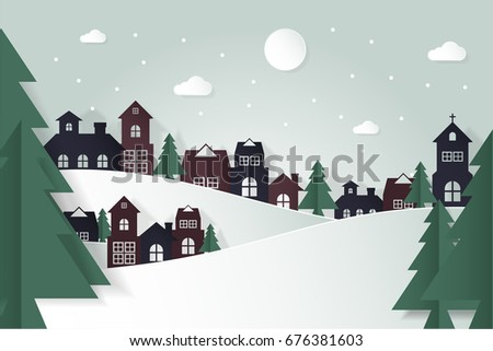 village landscape winter season snow country christmas and new year background city