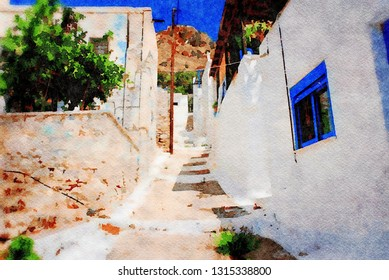 The village of Megalo Chorio on the Greek island of Tilos. Digital image with watercolour effect.