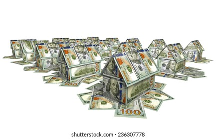 The village of the small houses made of bills for $ 100