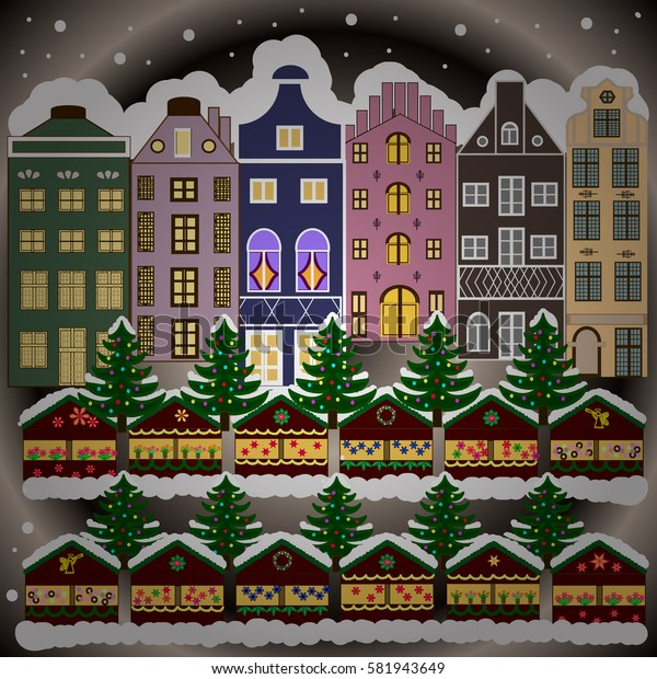 Village winter landscape with snow cove houses and christmas tree with Christmas presents.
