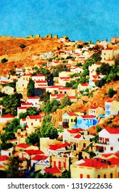 The village of Yialos on the Greek island of Symi. Digital image with watercolour effect.