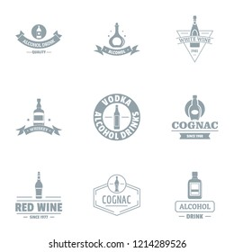 Vino logo set. Simple set of 9 vino logo for web isolated on white background