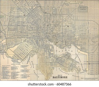 Vintage 1891 map of the city of Baltimore, Maryland; out of copyright
