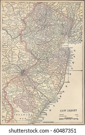 Vintage 1891 map of the state of New Jersey; out of copyright