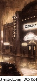 Vintage 1940s era scene outside of a movie theatre on a rainy, misty night.  The street is lit by the theatre signs and a classic car sits in the foreground.
