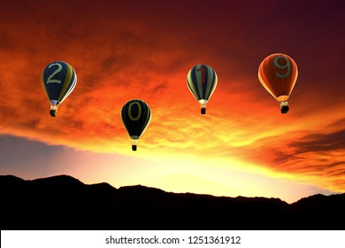 vintage 2019 hot air balloons for new year - 3d rendering