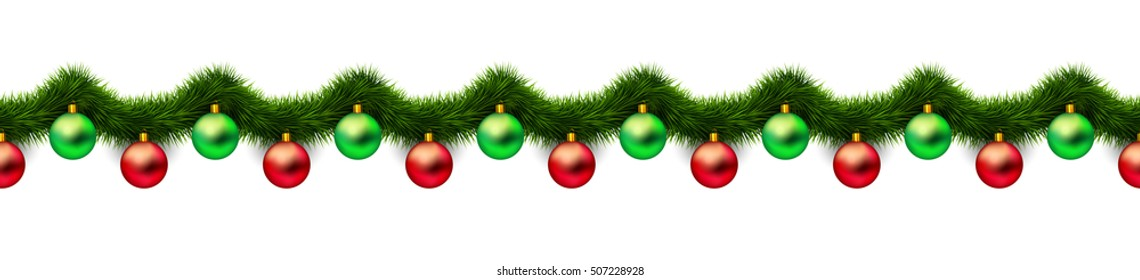 Vintage 3D abstract christmas decoration isolated on white background. Red and green xmas holiday ornaments and green tinsel isolated on white. Winter holiday repeat border, pattern. Raster version