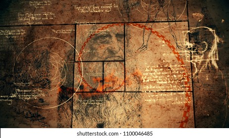 A vintage 3d illustration of code Da Vinci with the sacred texts, the portrait of the bearded genius, a human head, a sphere with circles, and red golden spiral in black squares.