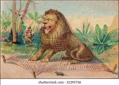 Vintage Advertising Card Illustration - Lion and Mouse Fable