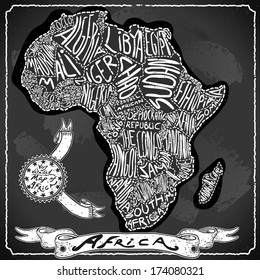 Vintage Africa Map Blackboard. Geographic African Chalk Board Map. Retro Vintage typography Africa. Chalk Handwriting African Map.Vintage Board Background Infographic Illustration