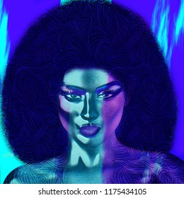 Vintage Afro abstract art, 70's disco style, with modern art twist.  3d digital model is versatile and perfect for artistic themes, diversity, fun, music and more